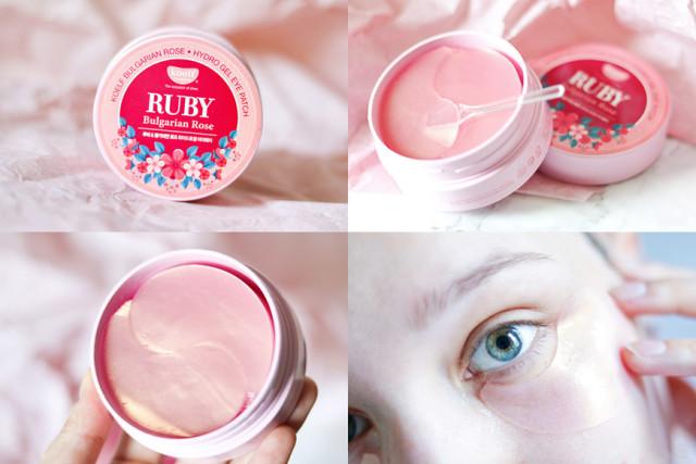 Гидрогелевые патчи для кожи вокруг глаз с рубиновой пудрой применени